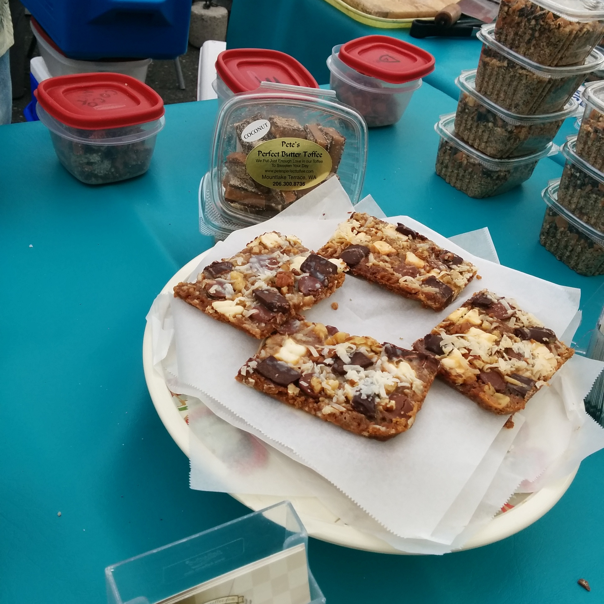 Pure bliss in a square called bark.  Pete's Perfect Toffee at Ballard Farmers Market.