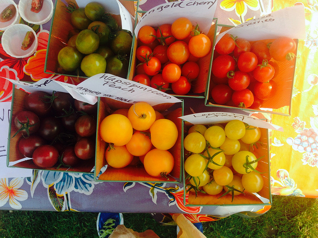 """Who knew there was such a thing as a """"Lemon Drop"""" cherry tomato? The stunning showcase from Around the Table Farm, at Wallingford."""