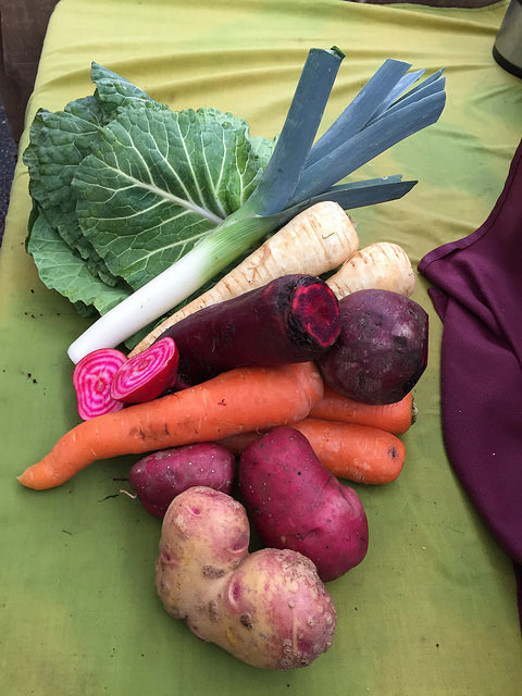 Collard Greens, Leek, Parsnips, Beets, Carrots and Potatoes from Nash's Organic Produce.