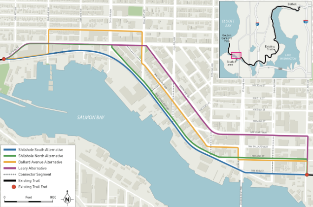 The four proposed Missing Link routes to complete the Burke-Gilman Trail.  Source: Seattle Department of Transportation.