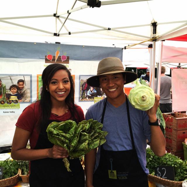 Susan and Choega of Seattle Youth Garden Works. Photo: Jordan Lowe.