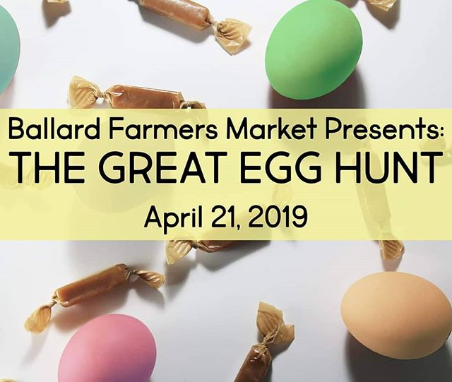 Join us in Ballard tomorrow for a spectacular scavenger hunt! Start at the information booth, and work your way around the market to locate numbered eggs located in vendor booths. When you've finished hunting, claim a prize egg stuffed with a @jonboycaramels! We have 400 eggs ready to go #onlyattheballardfarmersmarket
