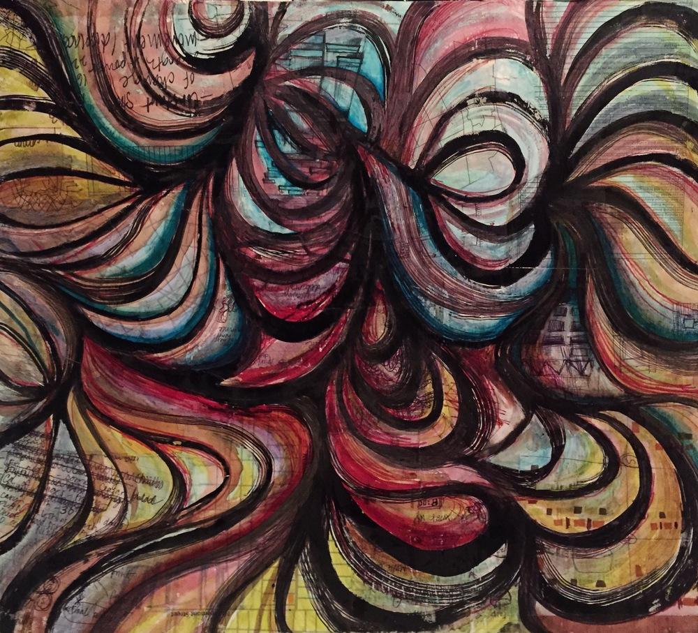 24'' x 22'' mixed media on wood panel.