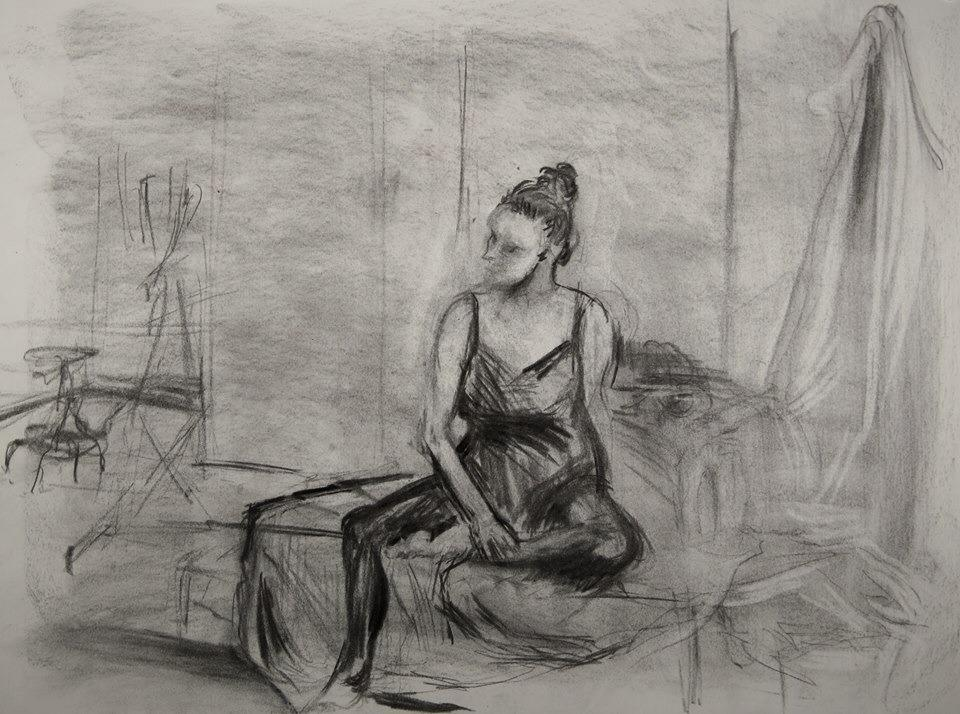 36'' x 24'' Charcoal on paper.