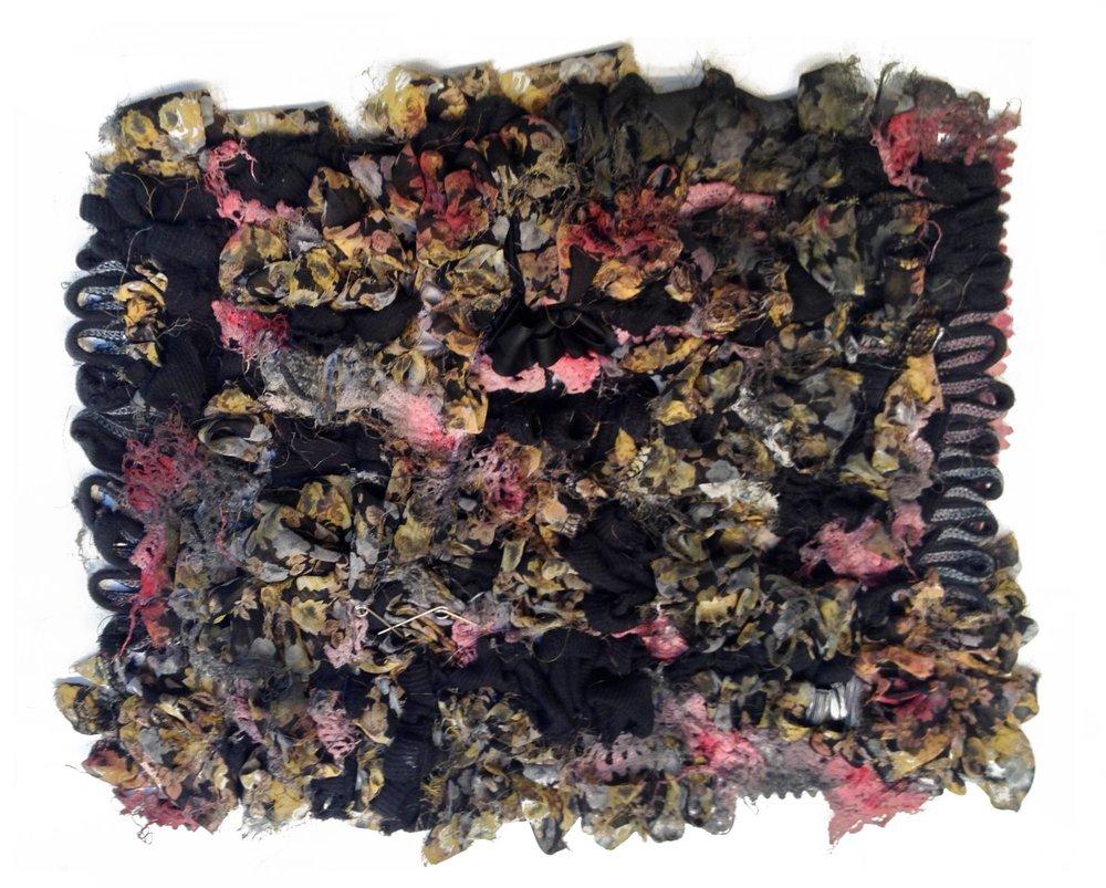 12'' x 9'' torn fabric & gouache.