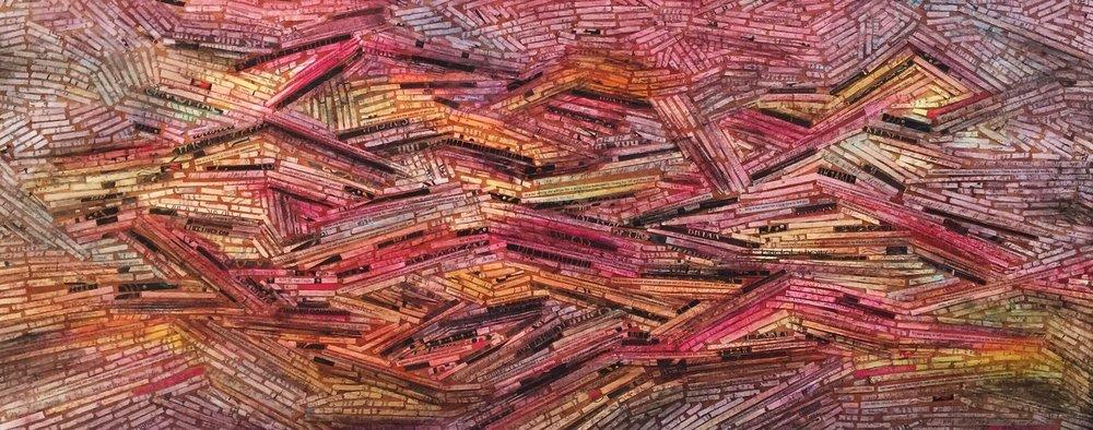 48'' x 24'' mixed media on wood panel.