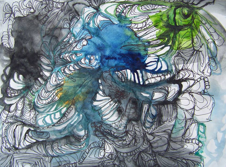 """(Sold) 9""""x12"""" Willamette River Study. Watercolor & Ink on Paper."""