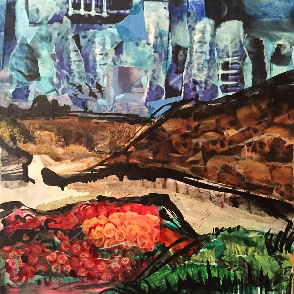 (SOLD) 12'' x 12'' mixed media landscape on wood panel