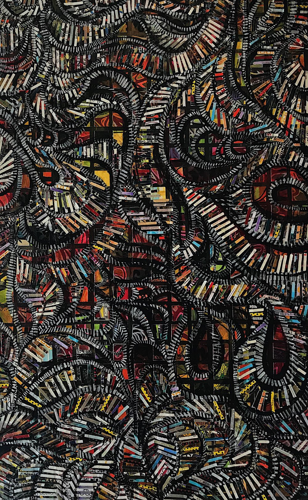 """(SOLD) 24""""x39""""  Fragmented Pathways.  Mixed Media on Wood Panel."""