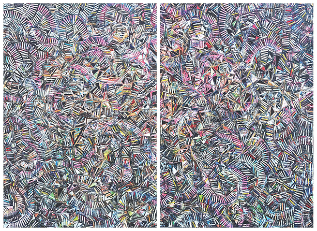 "Diptych - Each panel is 33""x48"" Topsy Turvy. Mixed Media on wood."