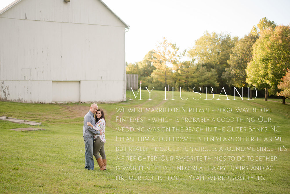 photo of husband and wife in park with a white barn