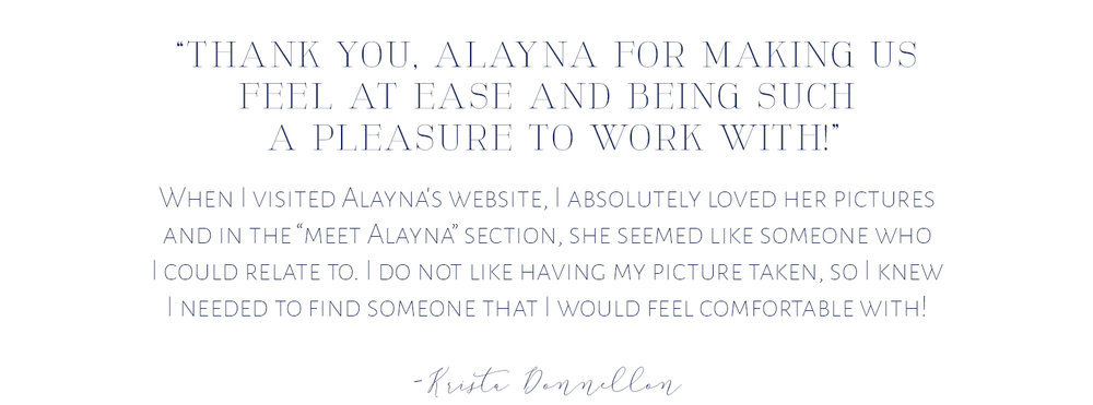 testimonial for alayna parker photography