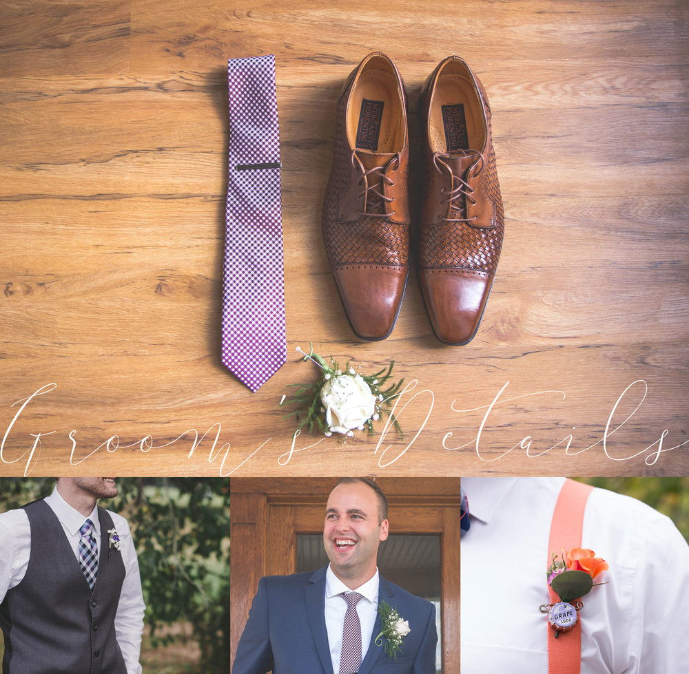 details of groom's items on wedding day