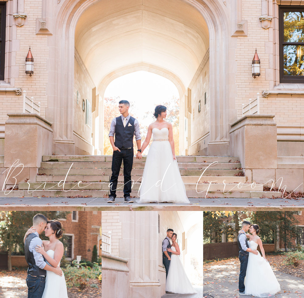bride and groom at the college of wooster