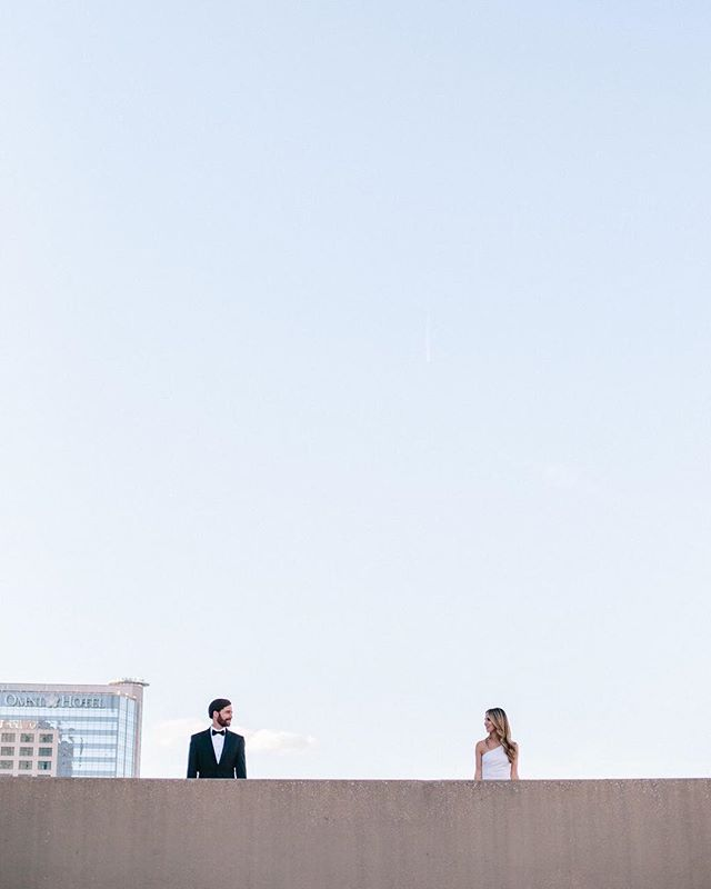 """This """"just because"""" couple's session is on the blog this morning. Because who really needs an excuse to dance in a parking deck in your black tie best? Check out Micah and Elizabeth's session using the link in my bio!"""