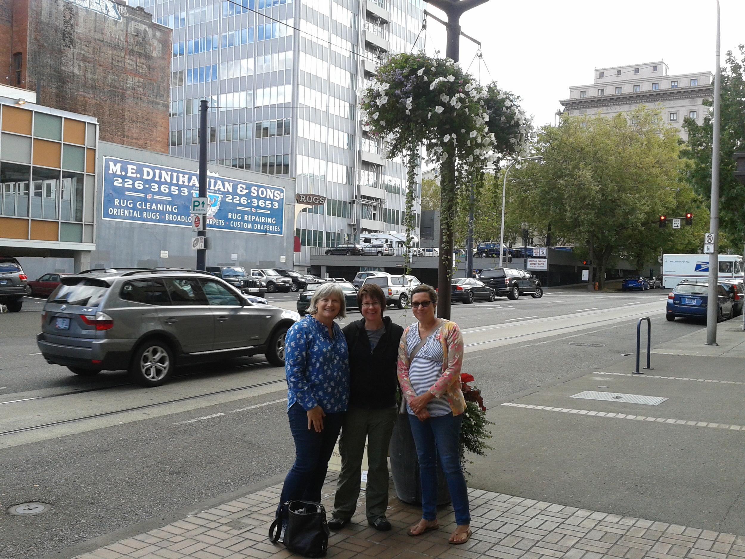 Julie, Lisa and Harriet in front of Mark Spencer Hotel