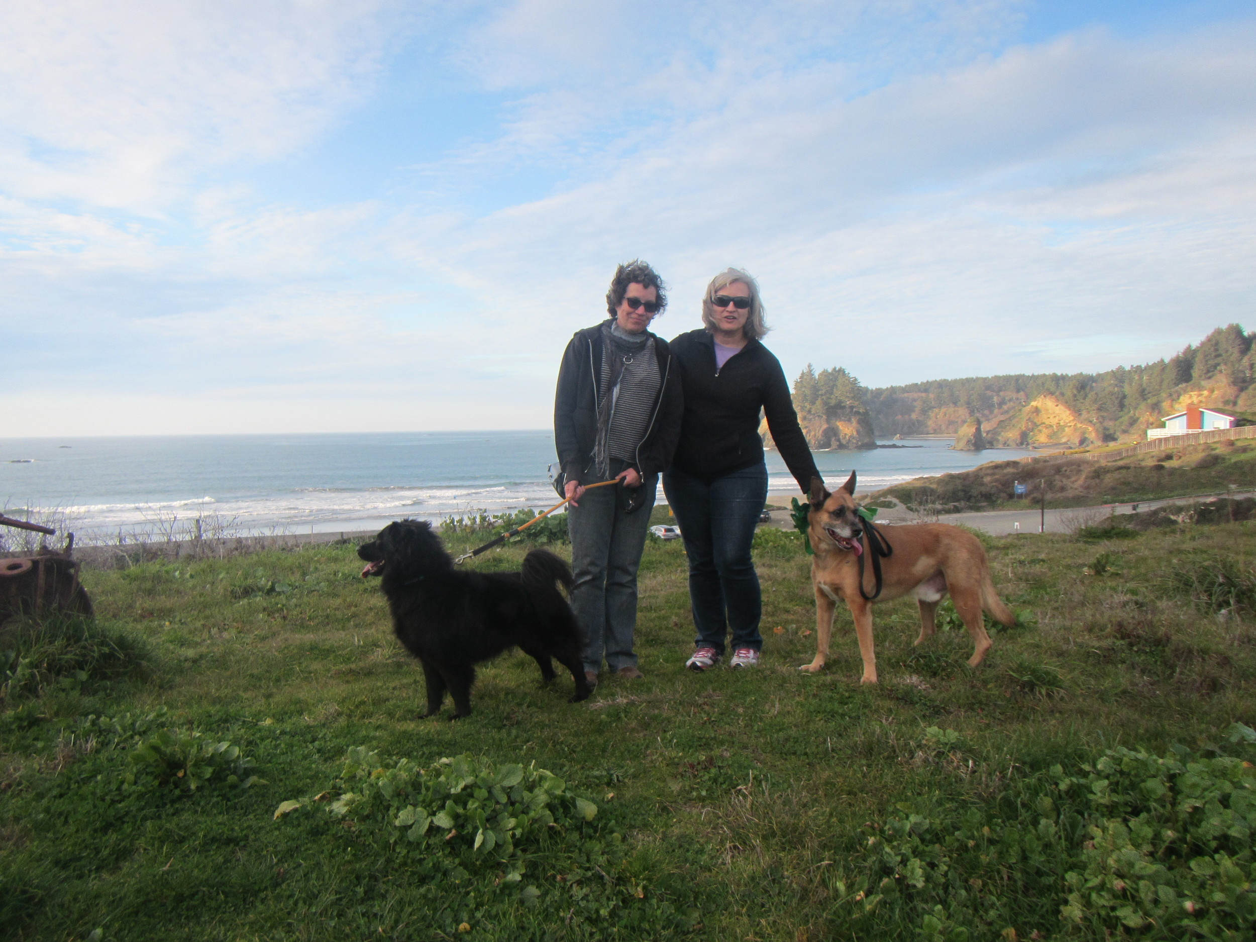 With bff Harriet and our dogs at Trinidad State Beach.