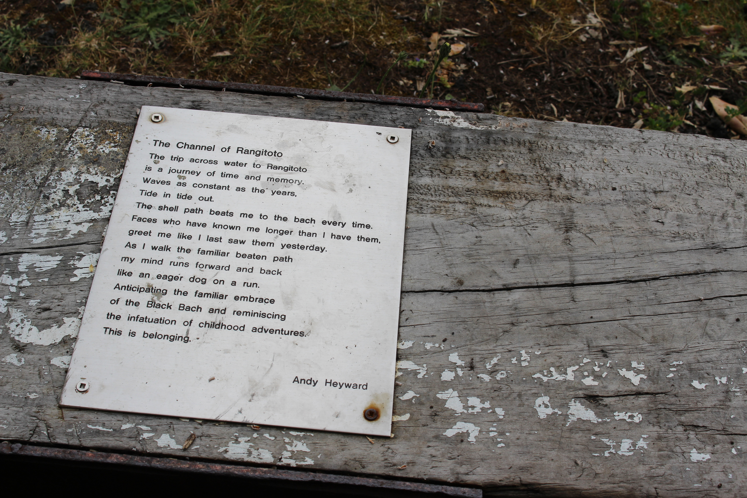 Poem on Rangitoto bench
