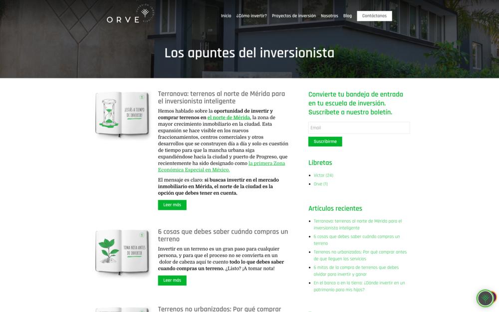 Contenido para inversionistas - Los apuntes del inversionista fue fundamental para comunicar el espíritu del producto inmobiliario y el posicionamiento de Grupo Orve a nivel nacional como un líder de autoridad en lotes residenciales para inversión.