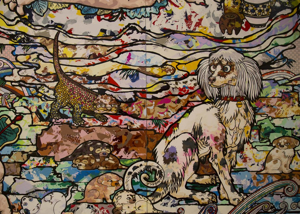Detail of 'In the Land of the Dead, Stepping on the Tail of a Rainbow' by Takashi Murakami