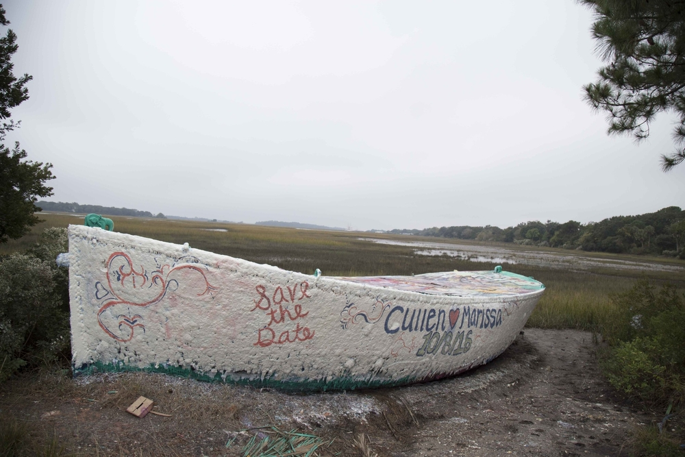 On the drive out to Folly Beach, there's a boat with paint layered thick like Queen Elizabeth makeup. It was washed ashore by Hurricane Hugo in 1989, and became a Folly landmark. Anybody is allowed to pain the boat. And they do - to celebrate engagements, birthdays, graduations, etc…