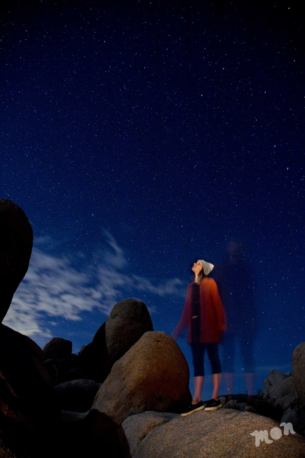 Abby stargazing at White Tank Campground in Joshua Tree
