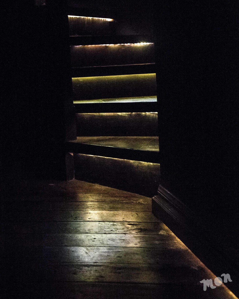light on the stairway to the 360 degree panorama room