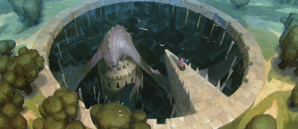 Lake Hurwitz - Meeting Chirog - Fantasy illustration created for 5th cell art test.