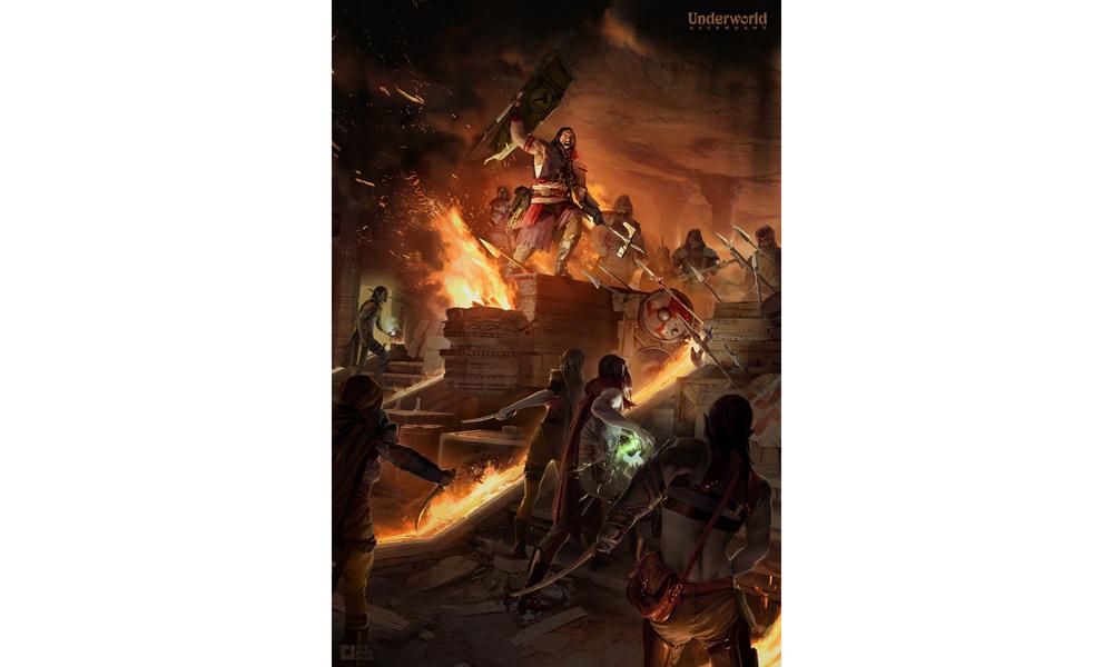 Lake Hurwitz - Dwarf Standoff - Fantasy illustration concept art created for Ultima Underworld Ascendant kickstarter.