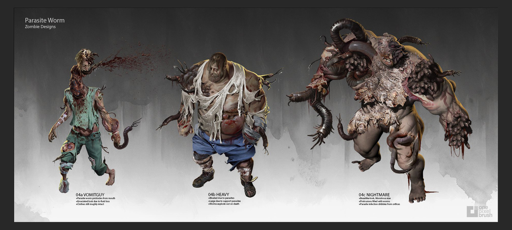 Lake Hurwitz - Parasite Zombies - Horror character concept art created for DeadLine through One Pixel Brush.