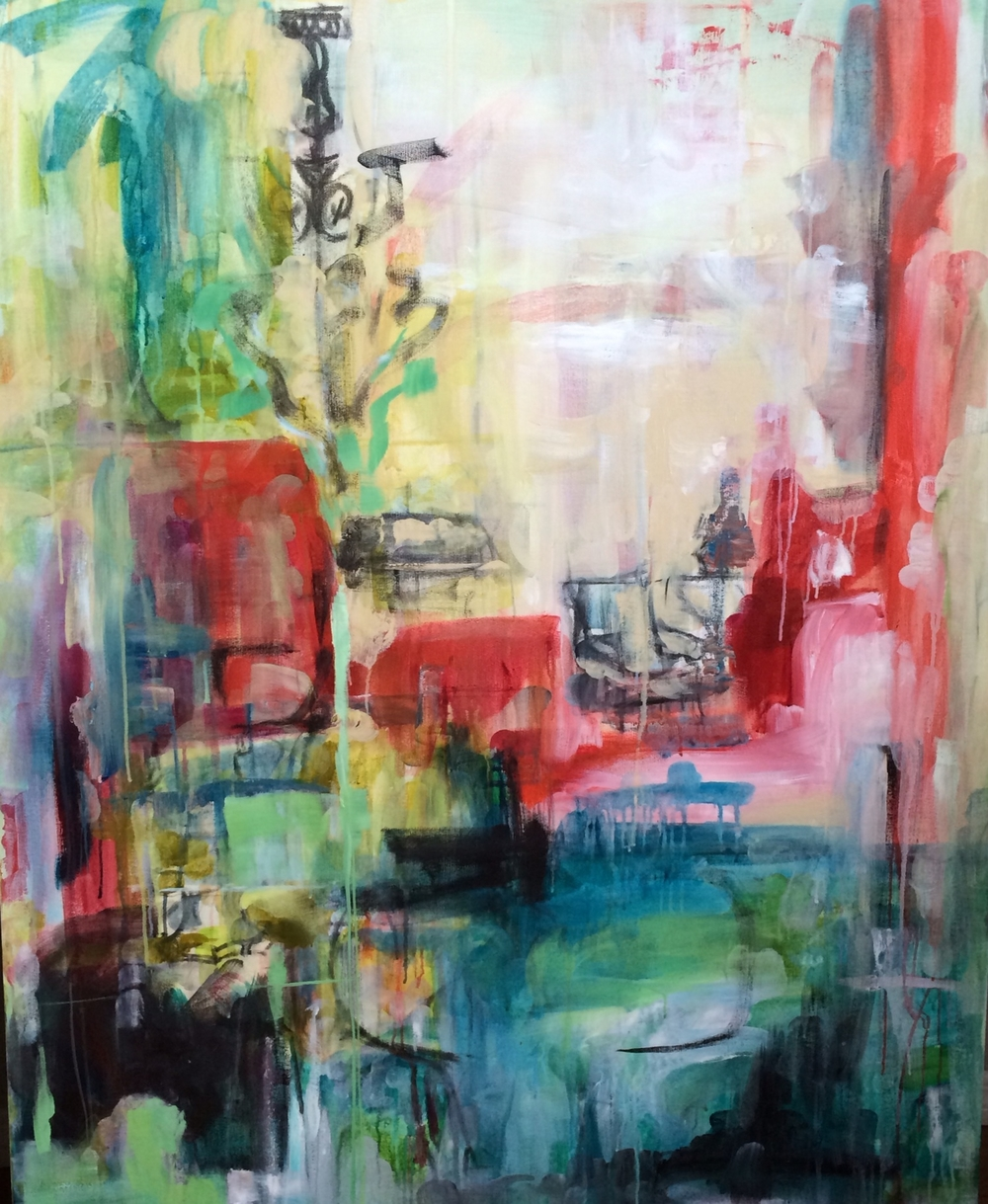 "SItting Room 48"" x 60"" acrylic, charcoal  on canvas SOLD"