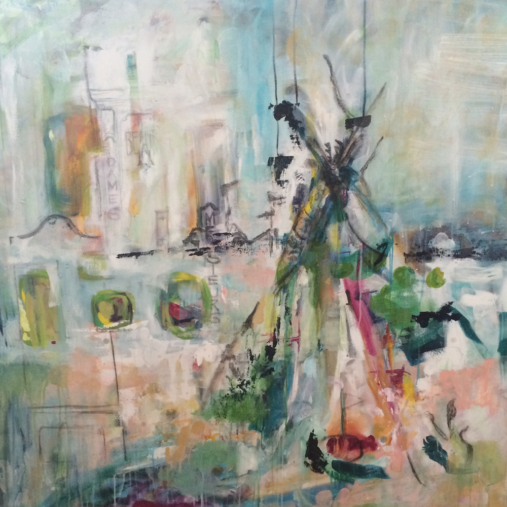 "Teepee 48"" x 48"" acrylic, charcoal on canvas SOLD"