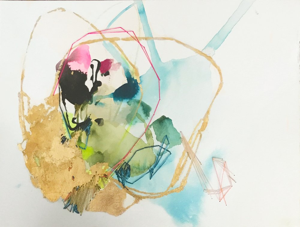 TUMBLING WAVE #2 12 in. x 16 in. acrylic, pencil, stitching, gold leaf on paper  SOLD