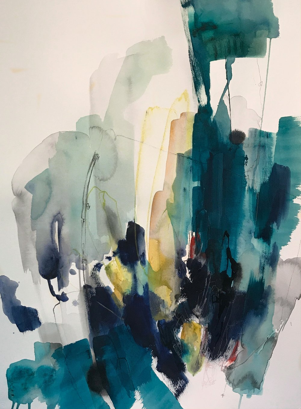 TENDER #1 22 in. x 30 in. acrylic, pencil on paper