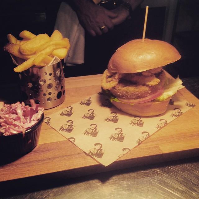 Chicken burger with rainbow slaw. #sirnormans