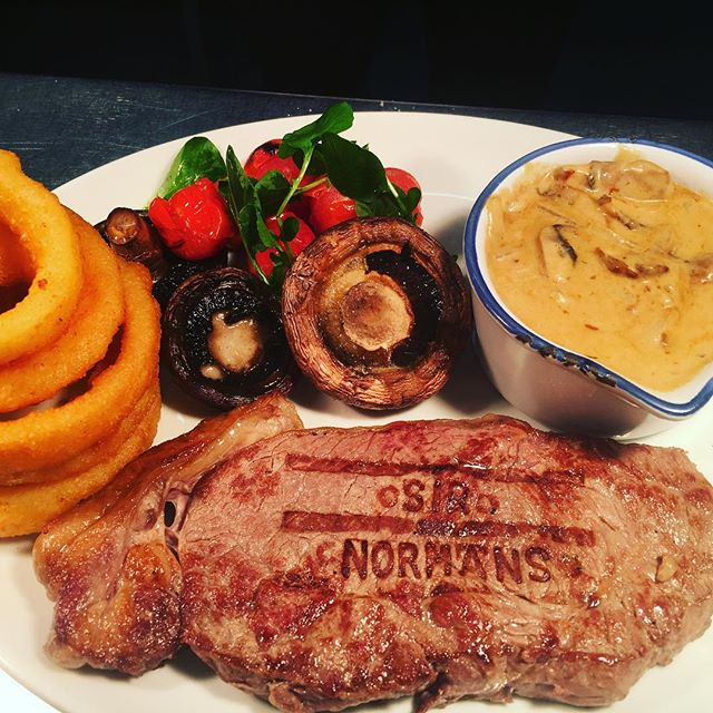 T-Bone with hand cut chips and Diane sauce. #newnormansmenu
