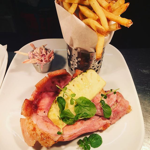 Gammon with hand cut fries and fresh pineapple. #newnormansmenu