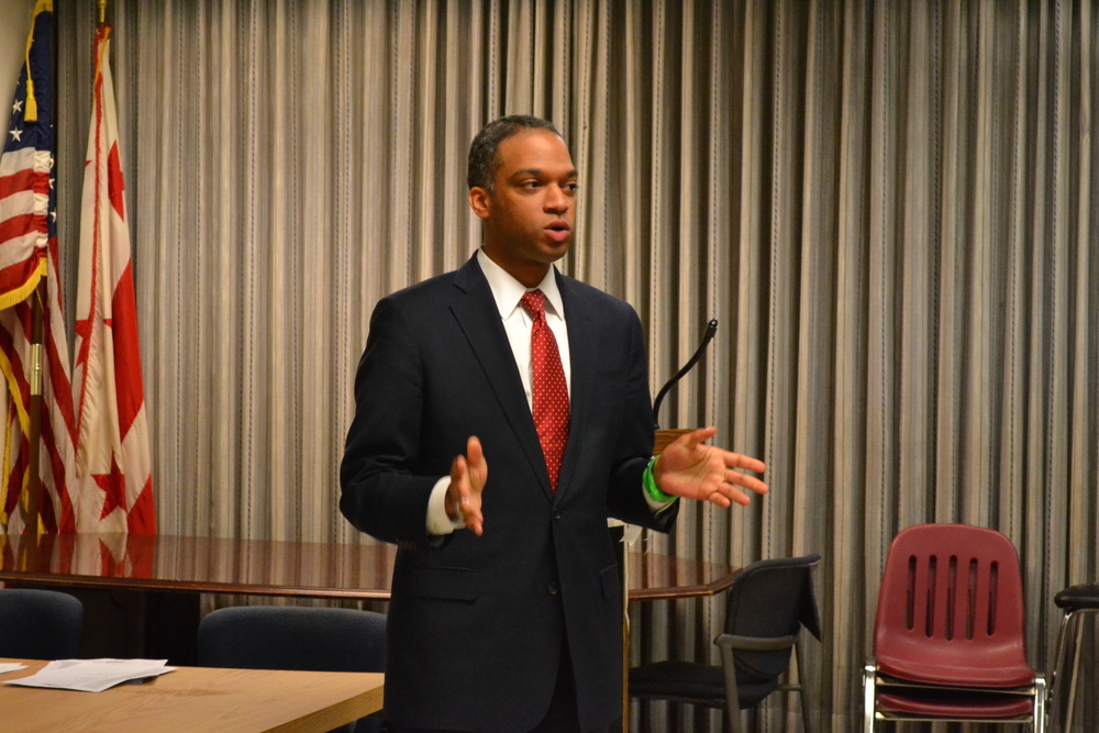 Ward 4 Councilmember-Elect Brandon Todd speaks to the assembled residents.