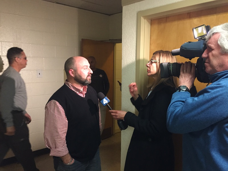 Drew getting interviewed by Jackie Bensen from NBC 4 (3/24/15)