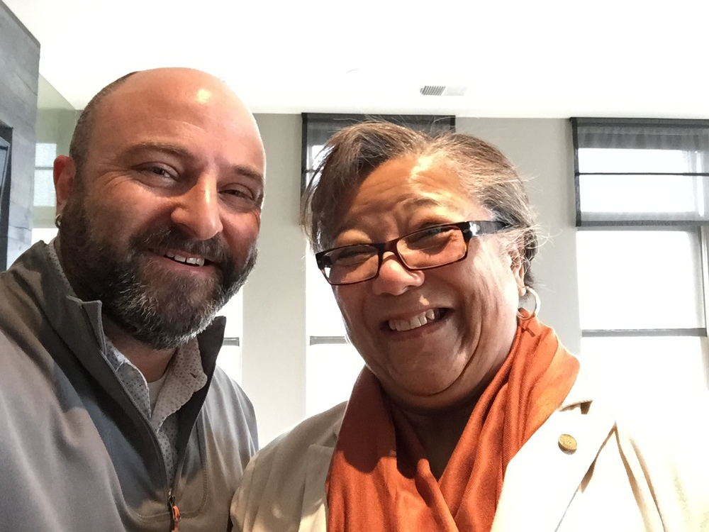 At-Large Councilmember Anita Bonds poses for an obligatory selfie with Drew.     (She's really sweet and very personable. My new favorite councilmember!)