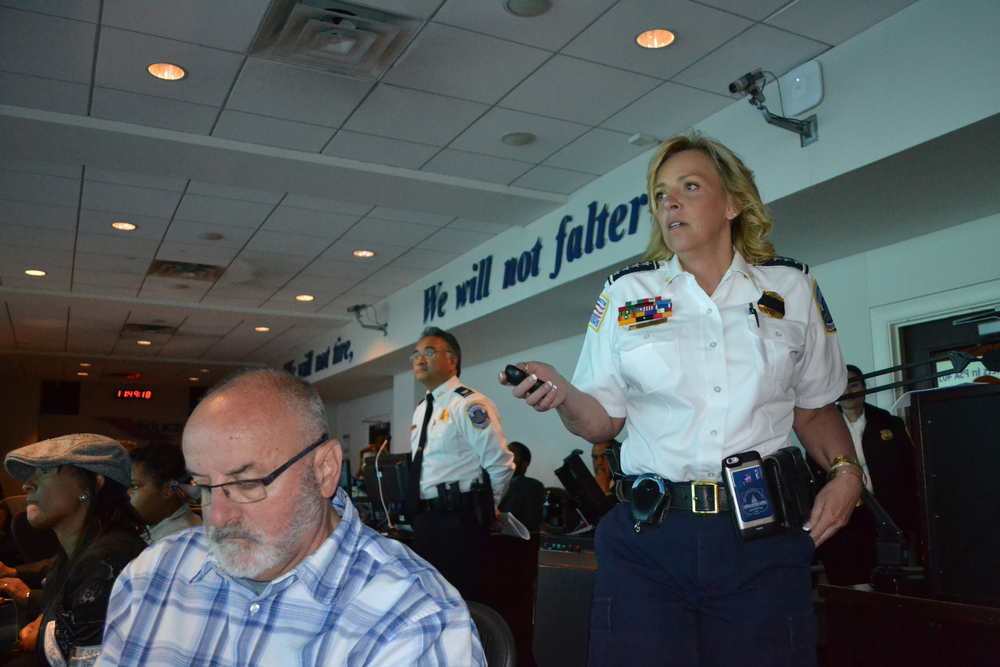 Chief Lanier presenting recent crime stats.