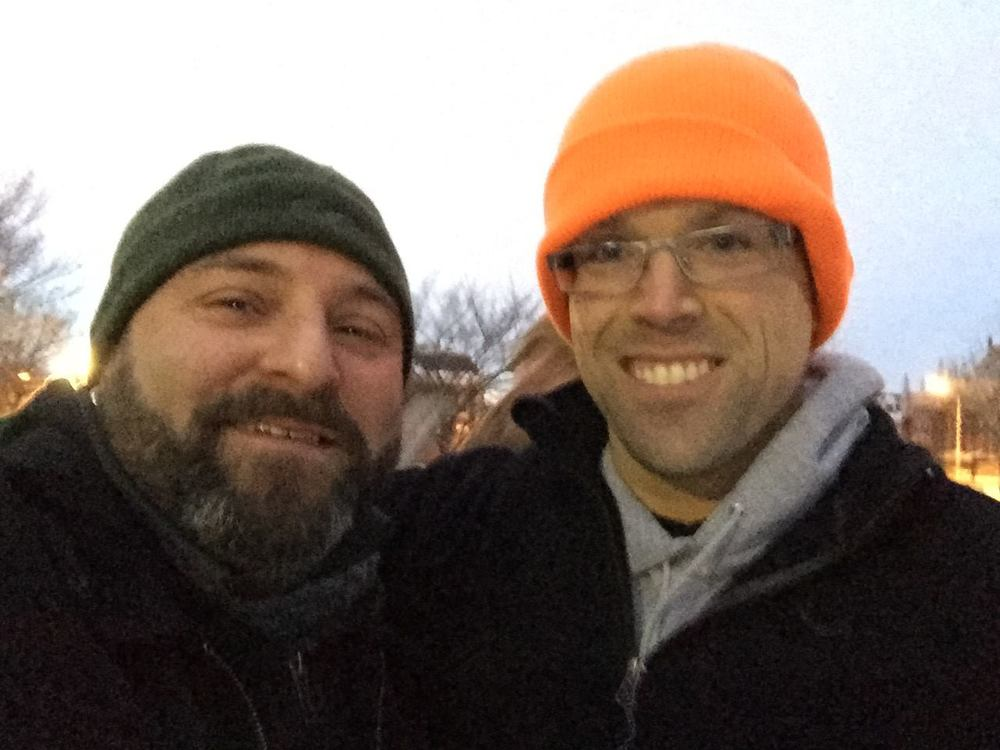 Rob Mandle poses for an obligatory selfie with Drew. 2/18/15