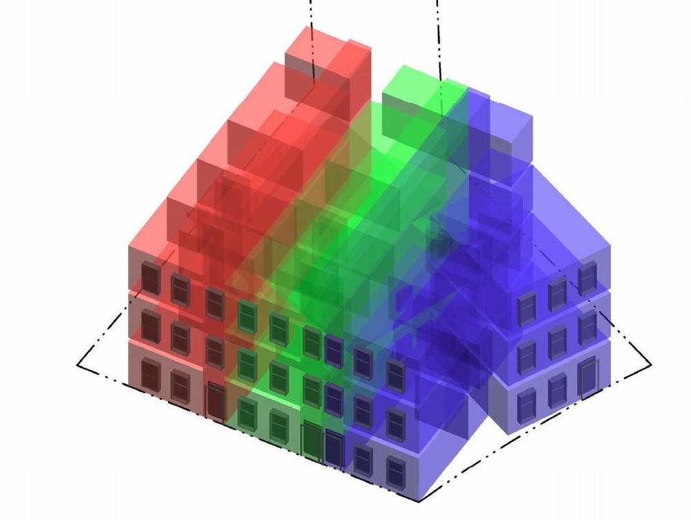 A rendering from  Washington Business Journal  of the new building showing three distinct units.