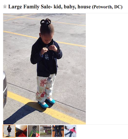 Cute kid for sale, or maybe it's just cute kid clothes...