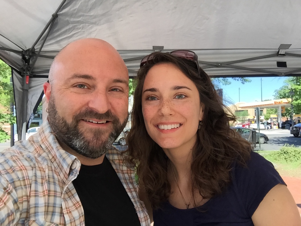 Maria Mandle from CreativeCouchDesigns poses for a selfie with Drew at the Petworth Community Market, 5/23/15