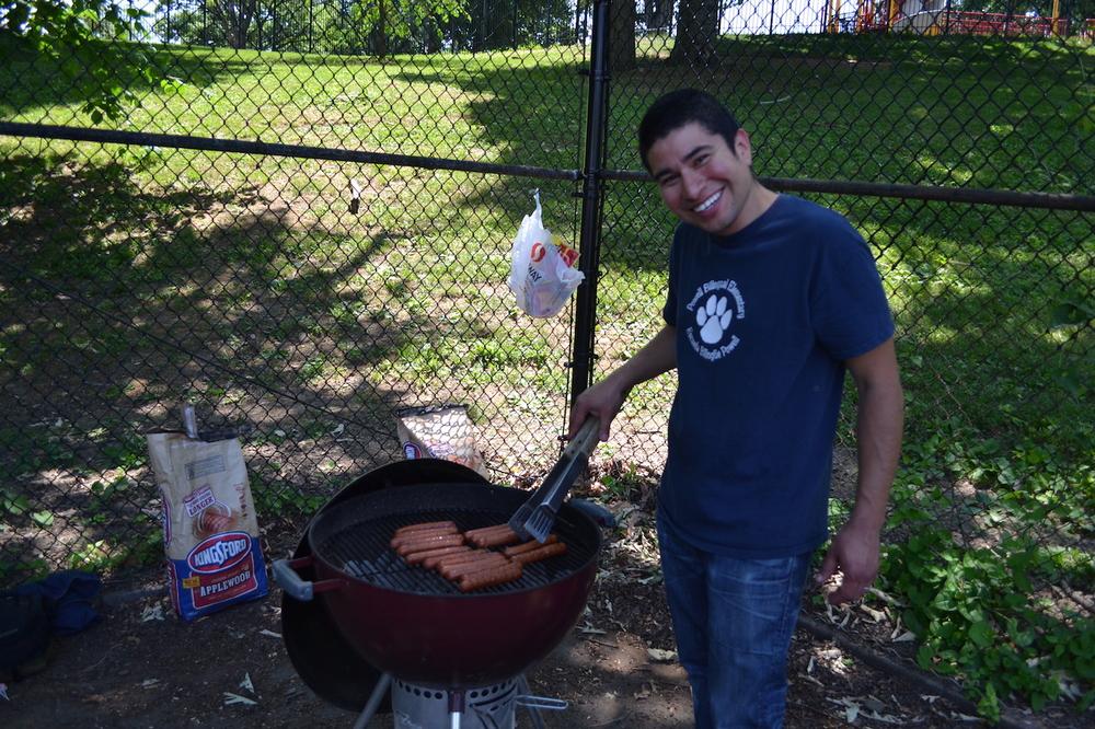 Horacio Artiga working the hot grill.