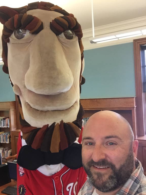 Washington Nationals Presidential mascot Abe Lincoln poses for a selfie with Drew at the Petworth Library. 5/30/15