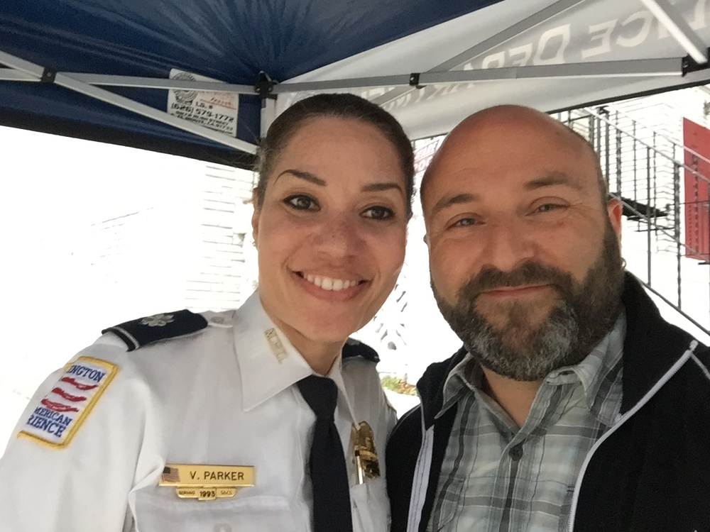 MPD 4D Inspector Vendette Parker poses for a selfie with Drew at the #IWishUKnew event she held at the Petworth Metro. I appreciate that Inspector Parker is trying to connect with residents... and humors my quirk for selfies.     6/3/2105