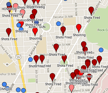 Google Map of recent shootings in Ward 4 and Petworth.