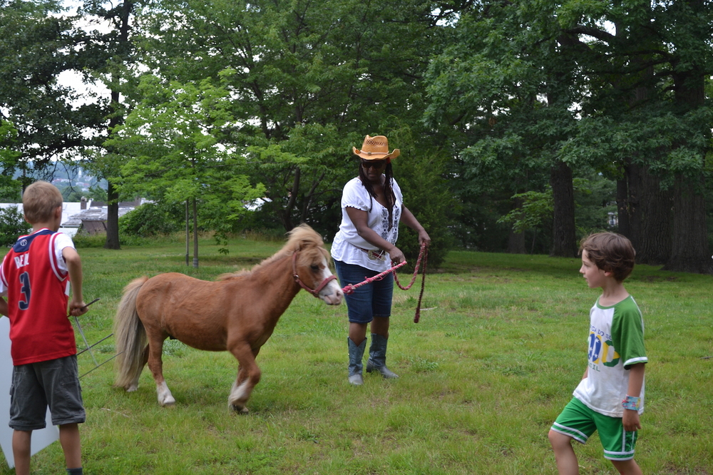 Peanut the pony gets to stretch his legs after an hour ride.